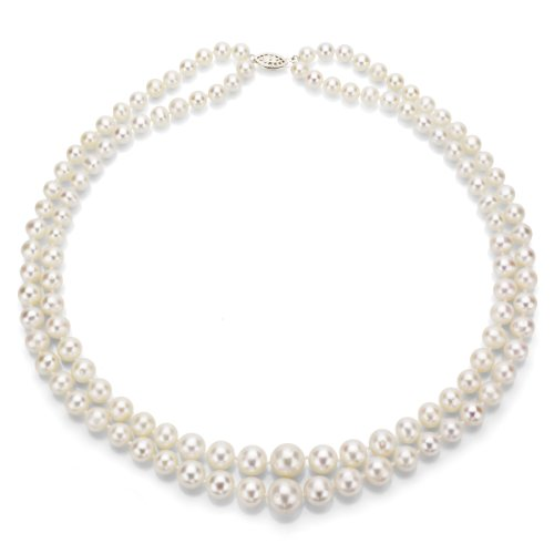 - Sterling Silver Graduated 6-11mm White Freshwater Cultured Pearl 2-rows Necklace, 17