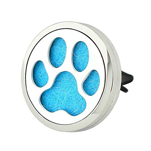 JOYMIAO Car Fragrance Diffuser Vent Clip Car Air Freshener Perfume Aromatherapy Essential Oil Diffuser Stainless Steel Locket Paw Dog
