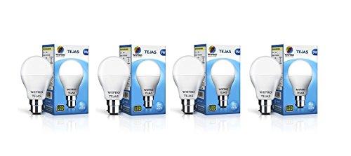 Wipro 9-Watt LED bulb Base B-22 (Pack of 4, White)