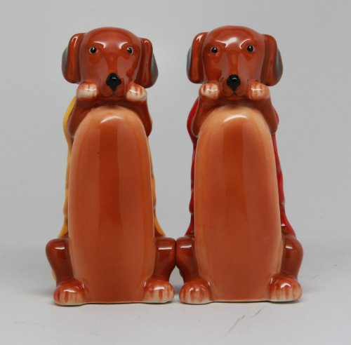 Weiner InchHot Inch Dog in Bun 3 Inch Ceramic Magnetic Salt and Pepper Shaker Set Fun Novelty Gift (Pepper And Shakers And His Salt Hers)