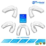 The ConfiDental - Pack of 5 Moldable Mouth Guard for Teeth Grinding Clenching Bruxism, Sport Athletic, Whitening Tray, Including 3 Regular and 2 Heavy Duty Guard (3 (lll) Regular 2 (II) Heavy Duty)