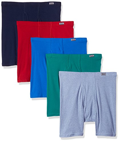 (Hanes Men's TAGLESS No Ride Up Boxer Briefs with Comfort Soft Waistband Prints and Solids 5-Pack)