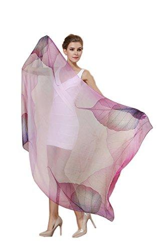 Women Fashion Silk Scarf Oblong Floral Oversize Soft Shawl Beach Wrap (Purple)