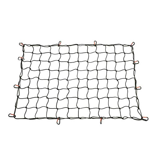 OrionMotorTech 3x4 FT Middle Size Cargo Net Heavy Duty for SUV and Short Truck Bed Stretches to 6x8 FT, 12 Tangle-Free D Clip Carabiners, Small 4x4 inches Mesh Holds Small and Large Loads Tighter