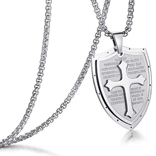 "Mens Stainless Steel Shield Cross Pendant Necklace Shield Armor of God Ephesians 6:16-17 Pendant Chain 24"" for Boy Women Men Silver"