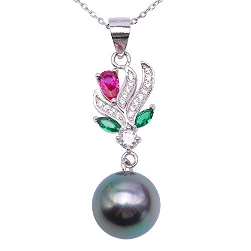 JYX Pearl Floral Pendant AAA Quality 9-10mm Genuine Round Black Tahitian Cultured Pearl Pendant Necklace for Women