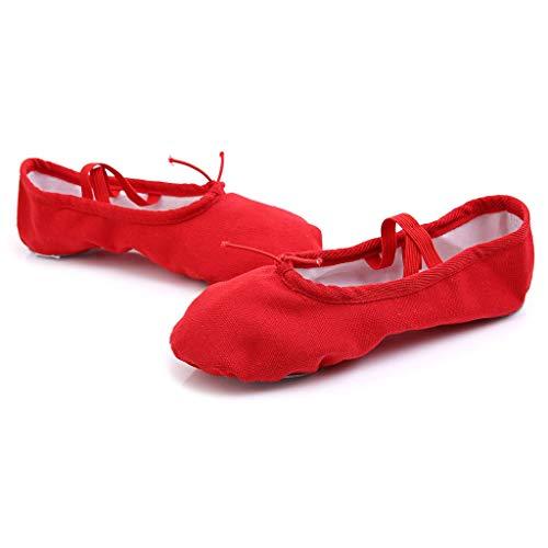 ANJUNIE Women Ballet Slipper Yoga Point Fitness Gymnastics Soft Bottom Canvas Dance Shoes(Red,37)