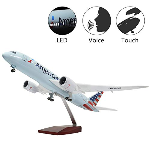 Lose Fun Park American Airline B787 1:130 Model Airplane with LED Light and Landing Gear