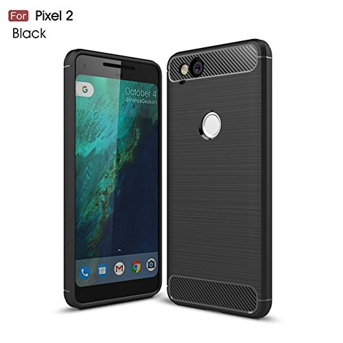 Price comparison product image HONTECH Google Pixel 2 Case,  Soft TPU Case Carbon Fiber Silicone Rubber Phone Back Cover (2017) (Black)