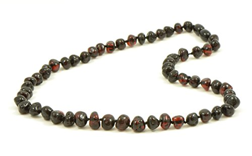 AmberJewelry Amber Necklace for Adults Made from Genuine Baltic Amber Beads (17.7 inches (45 cm), Cherry)