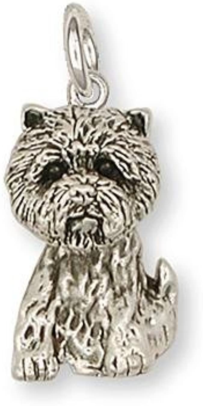 Small size Amber the Westie cowhide leather charm with lobster clasps version White