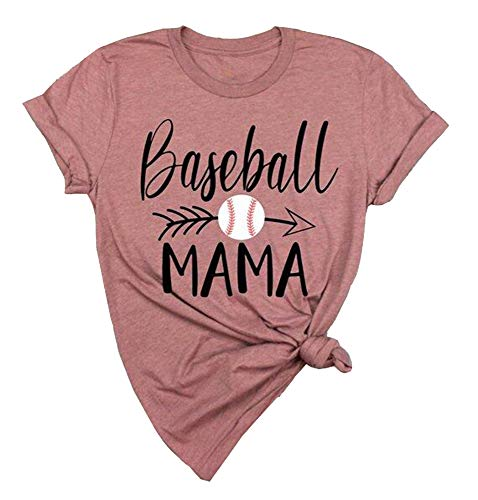 (JINTING Letter Print Tee Shirts for Women Cute Baseball Graphic Print Mama Tee Shirts with Saying)