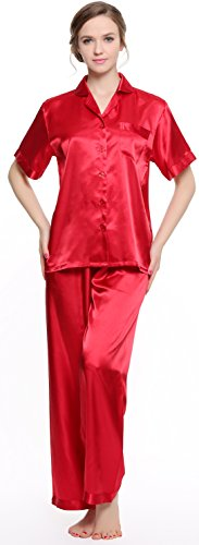 Pajamas Womens Red (Sunrise Women's Short Sleeve Classtic Satin Pajama Set (Medium, Red))