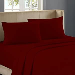 Nile Bedding Extra Luxurious 100 Percent Egyptian Cotton Duvet Set 650 TC Solid (Cal-Queen , Burgundy)