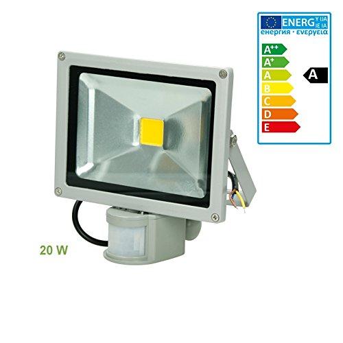 ECD Germany 1x Reflector LED SMD 20W 240V 1200 Lumens IP65 a prueba de agua Blanco frío 6000K Iluminación exterior con Sensor de Movimiento: Amazon.es: ...