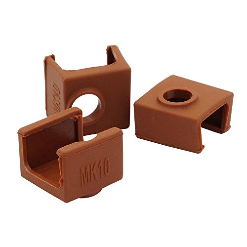 CCTREE 3D Printer Heater Block Silicone Cover MK10 Hotend for 3D Printer Wanhao Dupicator D4/I3/Dremel QIDI Makerbot 2 Tech Flashforge (Pack of 3)