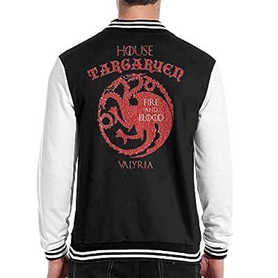 TEE CITY House Targaryen Baseball Jacket with Long Sleeve Banded Collar Add Wool