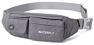 WATERFLY Slim Soft Polyester Water Resistant Waist Bag Pack for Man Women Outdoors Running Climbing Carrying Iphone 5 6 Plus Samsung S5 S6 (gray)