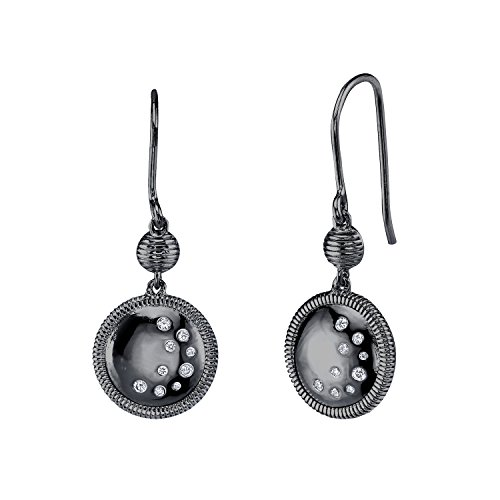 CHARLIZE GADBOIS Sterling Silver Diamond Drop Earrings, Gunmetal PlatedX cttw,I2-I3 Clarity) by Gadbois Jewelry