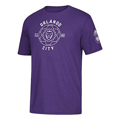 adidas MLS Orlando City FC Men's Triblend Linear Icon T-Shirt, XX-Large, Regal Purple (Pride Fc Apparel)