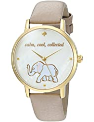 kate spade new york Womens Metro Quartz Stainless Steel and Leather Casual Watch, Color:Grey (Model: KSW1208)