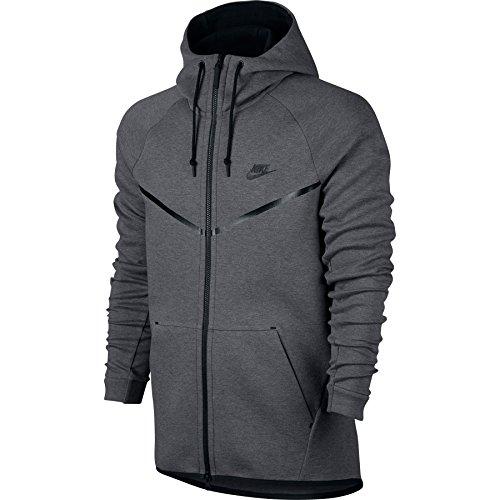 Nike Mens Sportswear Tech Fleece Windrunner Hooded Sweatshirt Carbon Heather/Black 805144-091 Size Small