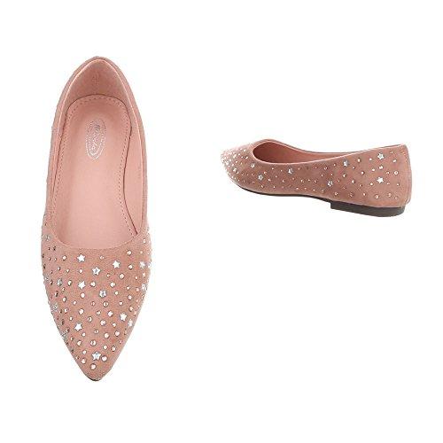 Women's Ballet Flats Block Heel Classic Ballet Flats at Ital-Design Pink 127-22 JXab6KjPY