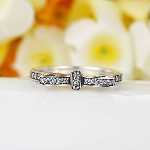BAMOER 925 Sterling Silver CZ Gemstone Bow Promise Ring Infinity Romantic Love Jewelry for Women Teen Girls Stack Ring Size 6-9 (9) by BAMOER (Image #3)
