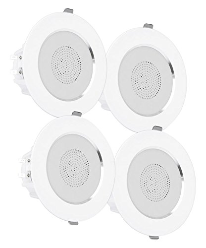 "Pyle 3"" Bluetooth Flush Mount In-Wall In-Ceiling 2-Way Home Speaker System Built-in LED Lights Aluminum Housing Spring Loaded Clips Polypropylene Cone & Tweeter Stereo 200W, Set of 4 (PDIC4CBTL3B) by Pyle"