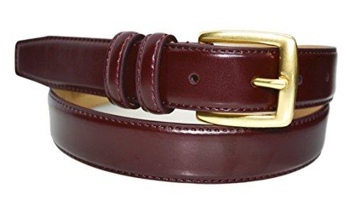 0211 - Toneka Mens Feather Edge Leather Dress Belt Cordovan (34 (fits 32