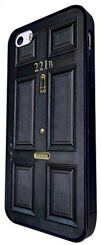 1443 - Cool Fun Trendy Cute Sherlock Door Movie Box Set Blue Door Design iphone SE - 2016 Coque Fashion Trend Case Coque Protection Cover plastique et métal - Noir