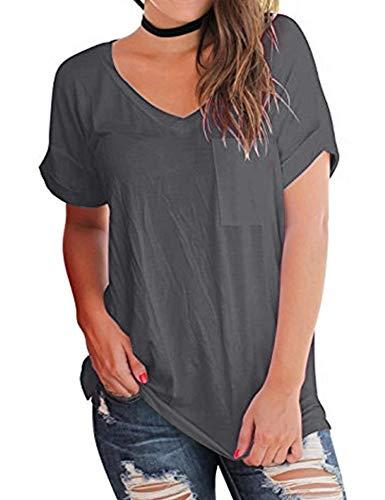 AKEWEI Flowy V-Neck T Shirts for Women,Short Sleeve V Neck Basic Tees with Pocket Dark Gray - Golf Womens V-neck T-shirt