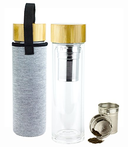 BrandFree Double Wall Glass Tea Infuser Bottle w/ Bamboo Lid - 14oz BPA Free & Leakproof Travel Tumbler for Tea's, Coffee, Fruit Infused Water, Cold or Hot w/ Travel Sleeve - No Branding