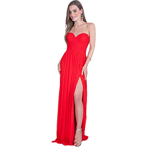 Terani Couture Strapless Open Back Formal Dress Red 16