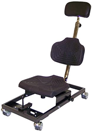 """Milagon Brio WS1281 Polyurethane Workseat on Steel Base Chair with 4 Casters, 14"""" Width x 12"""" Depth Seat Dimension"""