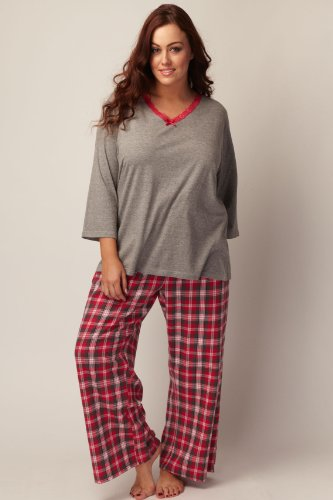 Yoursclothing Plus Size Womens Pink & Grey Check Pyjamas With Lace ...