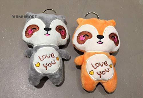 2pcs Kawaii 2Colors Choice , 12CM New Love Racoon Party Gift Plush Stuffed Toy , Mini Little Key Chain Gift Toys Doll (VER) ()