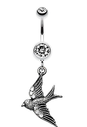 Flying Swallow Sparkle Belly Button Ring - 14 GA (1.6mm) - Clear - Sold Individually (Ring Swallow)