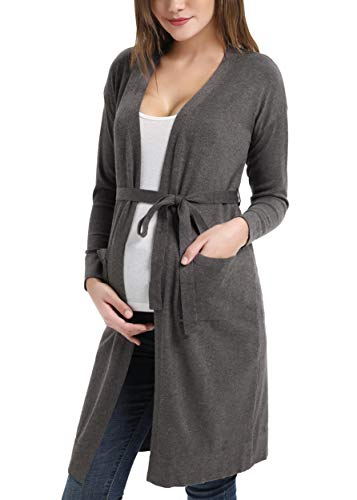 Maternity Casual Open Front Belted Sweater Cardigan ()