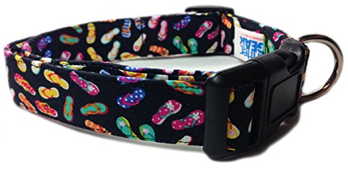 Adjustable Dog Collar in Black with Mini Sandles (U.S.A. Made)