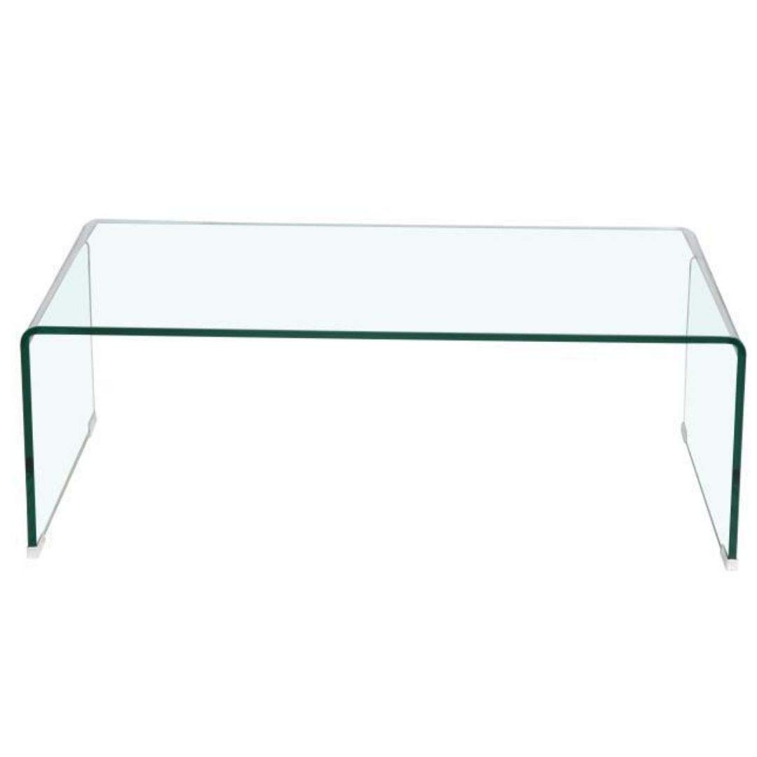 Plata Import Waterfall Glass Coffee Table Large H16 x W42 x 20 Glass Console Table Console