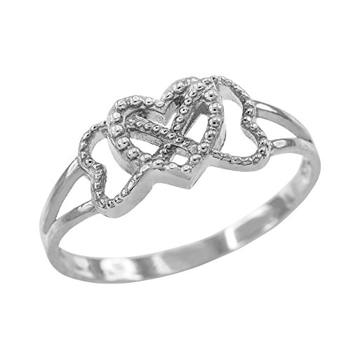 10k White Gold Textured Triple Heart Infinity Ring (Size 11)