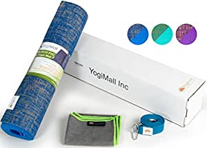 YogiMall 72-Inch Natural Jute / Eco PVC Yoga Mat with Carry Strap - Blue