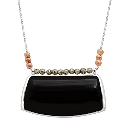 Silpada 'Sable' Natural Black Agate & Pyrite Pendant Necklace in Sterling Silver & Copper