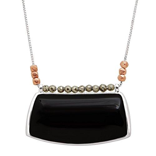 Silpada 'Sable' Natural Black Agate & Pyrite Pendant Necklace in Sterling Silver & Copper