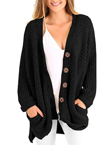 Womens Plus Size Cardigan Oversized Cable Knit Button Down Chunky Sweater Coats with Pockets Black