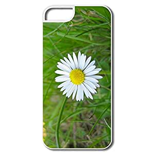 Fashion White Flower Green Grass Scratch Pu Iphone 5 Cover
