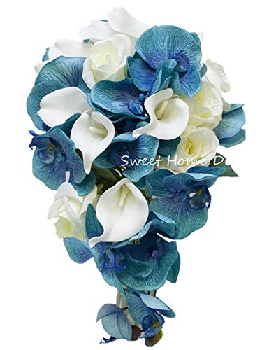 (Sweet Home Deco Silk Phanaenopsis Orchid Rose Calla Lily Mixed Wedding Bridal Bouquet Bridesmaid Bouquet Boutonniere Blue and White (Blue/White-Bridal)