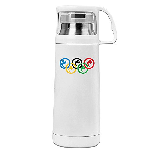 Handson Stainless Steel Vacuum Insulated Travel Tumbler Five Circle Thermal Water Bottle White (Champions Travel Tumbler)