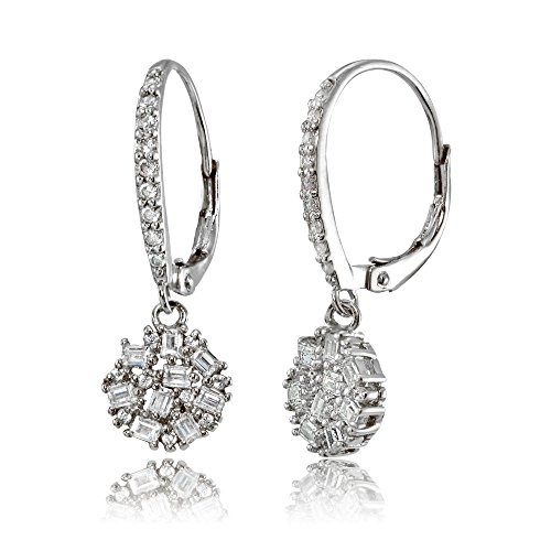 Sterling Silver Baguette and Round-Cut Cubic Zirconia Cluster Round Leverback Dangle Earrings Round Prong Set Cluster Earrings